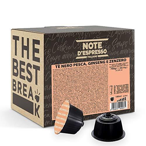 Note d'Espresso - Cápsulas de Té Negro con Melocotón, Ginseng y Jengibre - Compatibles con Cafeteras de Cápsulas NesCafé* y Dolce Gusto* - 48 x 16g