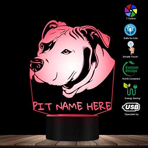ENLAZY 3D Pit Bull LED Night Light Pet Dog Head Po