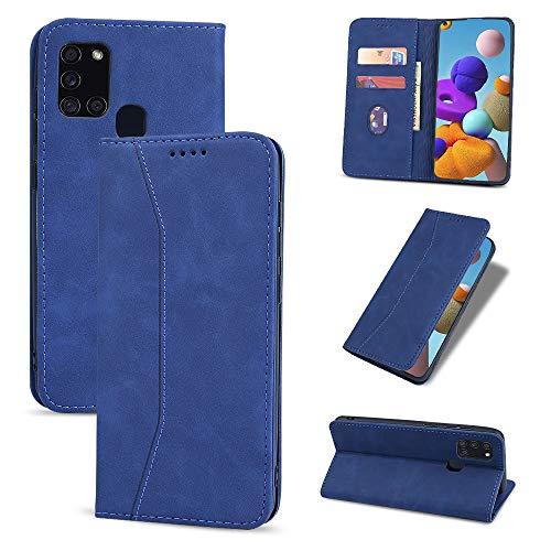 UEEBAI Funda con tapa para Samsung Galaxy A71, funda de piel sintética de poliuretano termoplástico suave, con tarjetero, función atril, cierre magnético, color azul