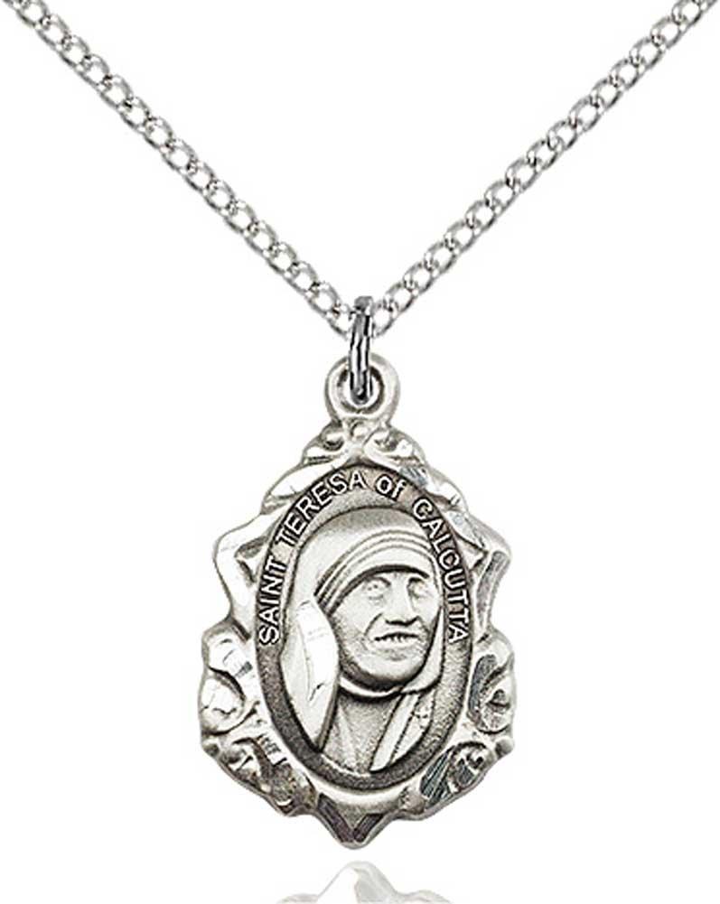 Heartland Store Womens Saint Teresa of Calcutta Pendant with Elegant Borders /& 18 Sterling Silver Chain
