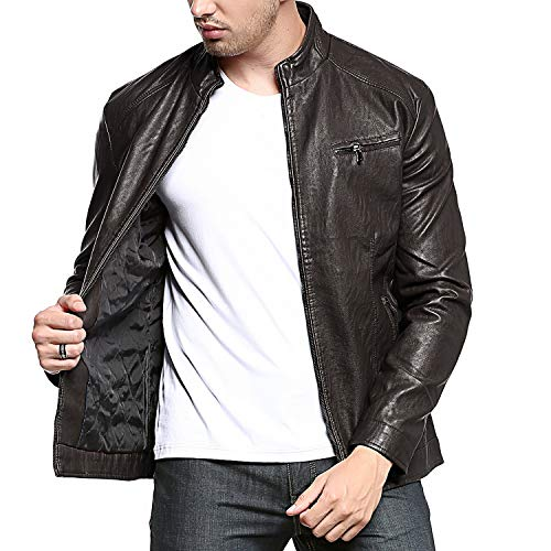 DONGD Mens Casual Stand Collar Faux Leather Jacket Pu Motorcycle Jacket