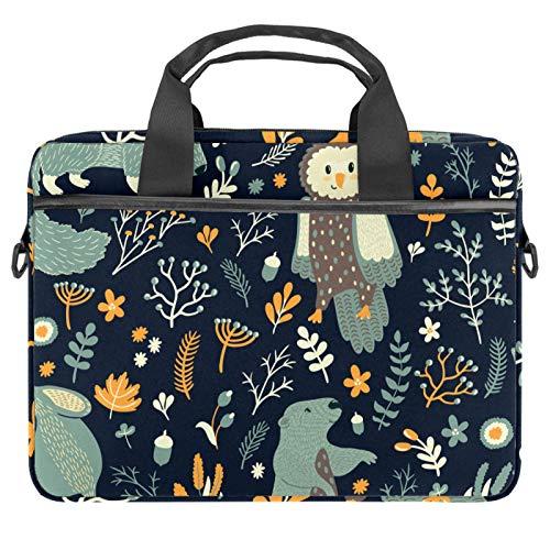 Computer Bag Suitable for MAC Computers Men and Women Handbags: 13.4 inch-14.5 inch Lightweight 15 inch Laptop Bag Business MessengerCute Cartoon Forest Animal Owls Bear