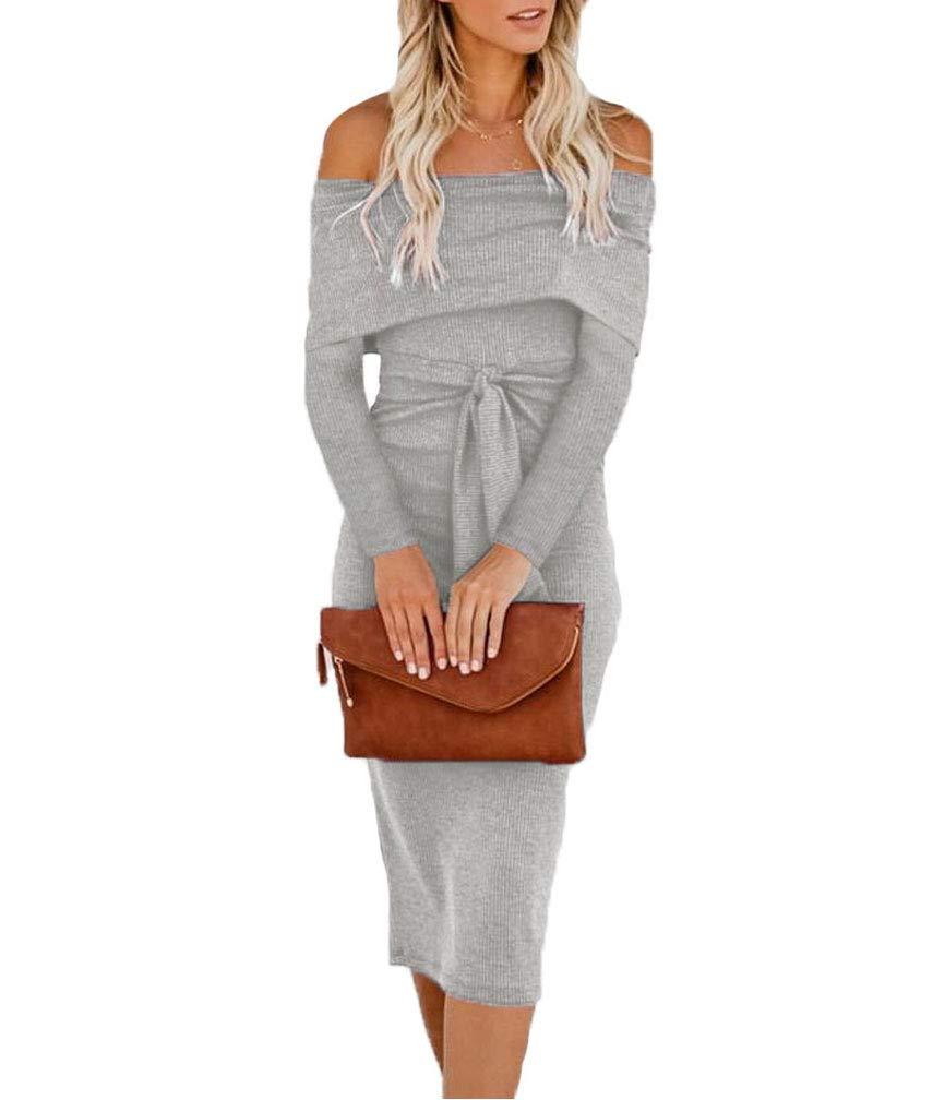 Available at Amazon: Teeuiear Women's Off Sheath Bodycon Dress Cocktail Long Sleeve Dress
