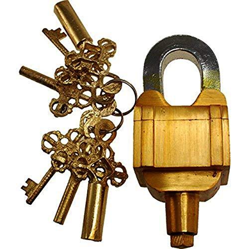 Candado funcional de latón con bloqueo de bloqueo, complicado, cuadrado, con 6 llaves (juego 3X2) Aspecto vintage Servicio pesado