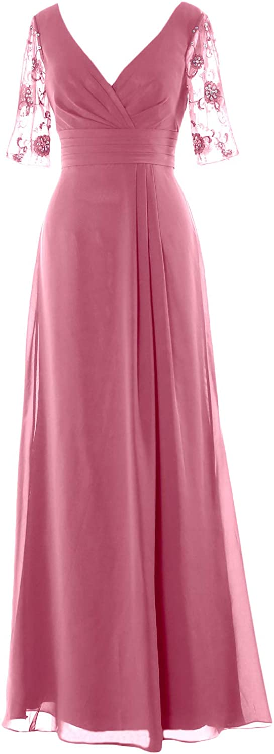 MACloth Women Half Sleeves V Neck Formal Evening Gown Long Mother of Bride Dress