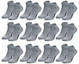 Men's Fashion Lounge Unisex - Sneakersocken Sport Kurze Socken für Training & Freizeit mit 70prozent Baumwolle (43-46/12 Paar, grau/12 Paar)