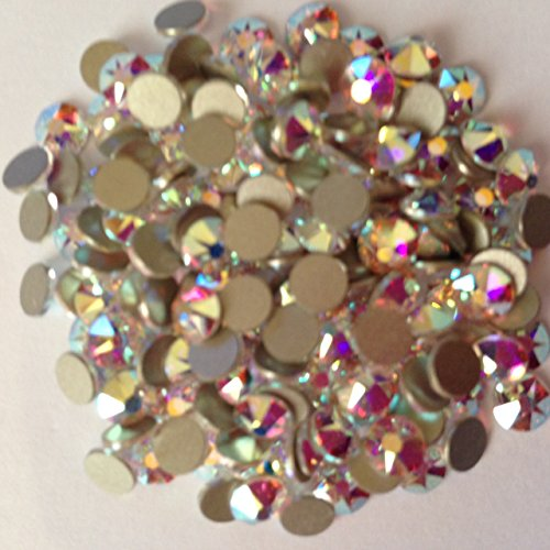 Pack of 70 Swarovski Flatback Glue Fix Rhinestone Gems (SS5 (1.8mm), Crystal Clear AB)