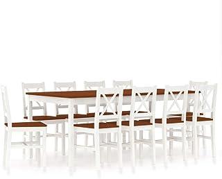 UnfadeMemory Conjunto de Mesa y Sillas de Comedor Cocina,Juegos de Muebles de Comedor,Madera de Pino (Blanco y Marrón, 11 Piezas)