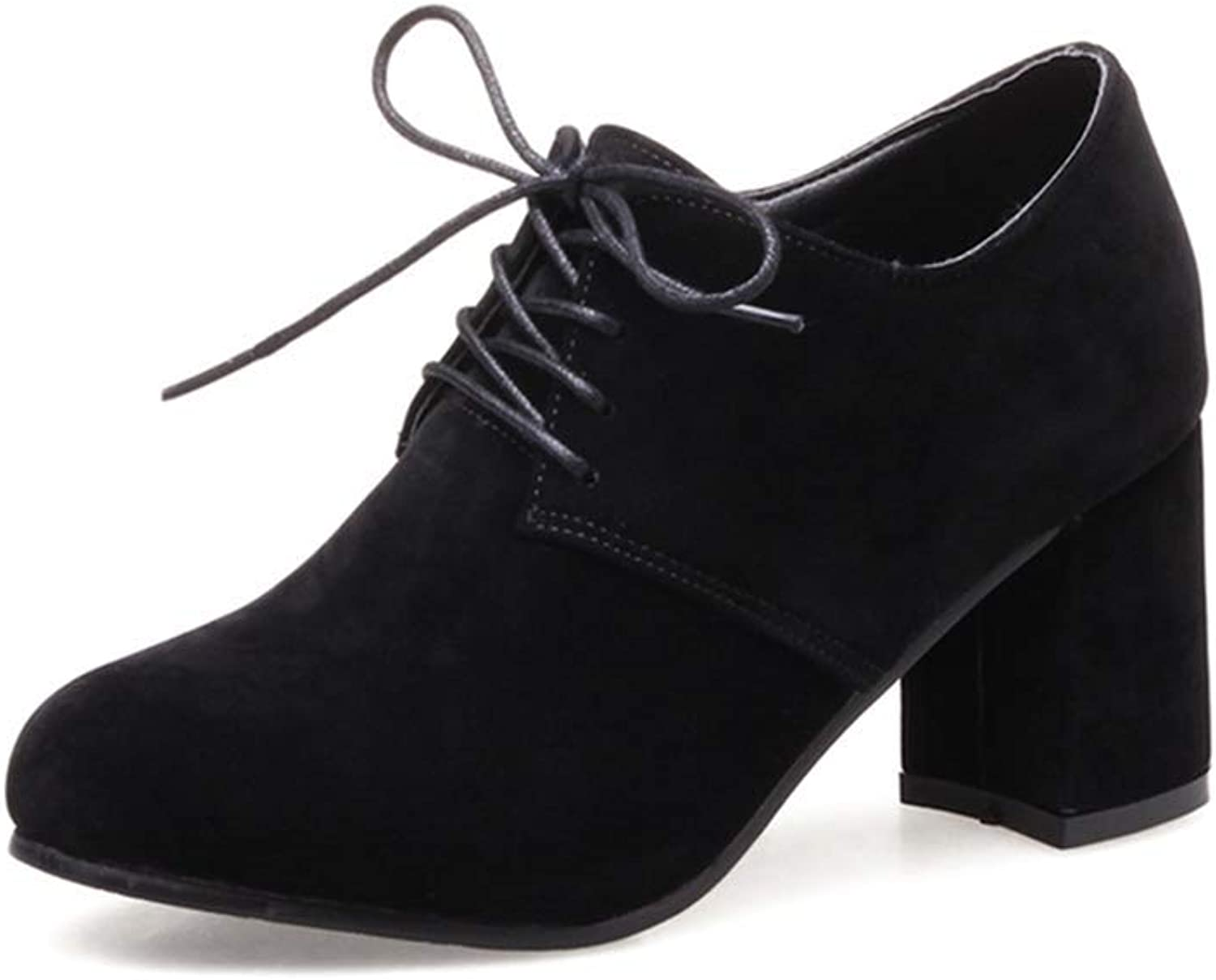 BMTH Women's Suede Lace Up Oxford Pumps Round Toe Platform Chunky High Heel Casual Dress Oxfords shoes