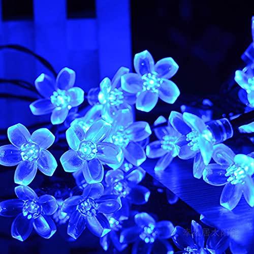 Catene Luminose solari per esterni, XVZ 50 LED catene solare con a forma di fiori di ciliegio, impermeabilità 8 modalità di luce, decorativa per giardino, patio, festa, Natale (blu)
