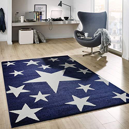 VIMODA Sterne Teppich Flauschige Qualität Blau Weiß Kunstfaser Schadstoffgeprüft, Maße:120x170 cm