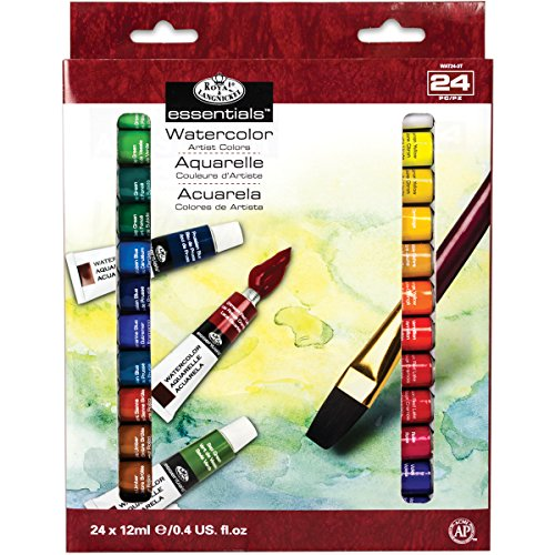 Royal & Langnickel WAT24 Watercolor Artist Tube Paint, 12ml, Pack of 24 colors