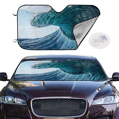 VTIUA Parasol para Parabrisas Frontal de Coche,Wave Blue Sea Surf Water Portable Universal Sunshade Keeps Vehicle Cooler for Car,SUV,Trucks,Minivan Automotive and Most Vehicle Sunshade (51 X 27 in)