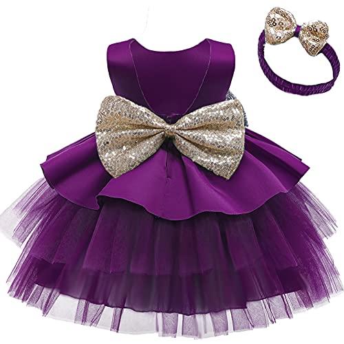OBEEII Vestido de tul para niña sin mangas, con lazo, flores, princesa,...