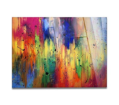 Giallobus - Cuadro sobre Vidrio ACRÍLICO PLEXIGLASS - Abstract Design - Color Spectrum and Black - 100X140CM