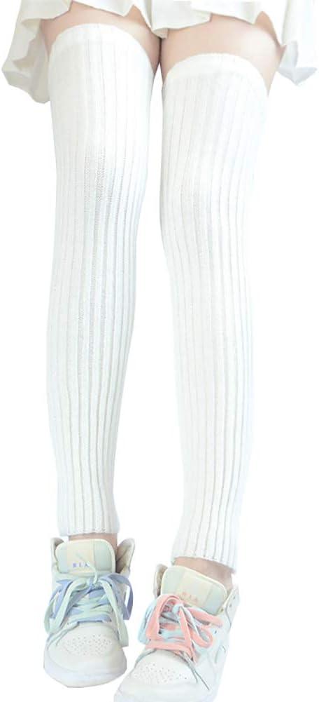 UUYYEO Women Winter Knit Leg Warmer Over Knee High Footless Socks Long Boot Cuffs