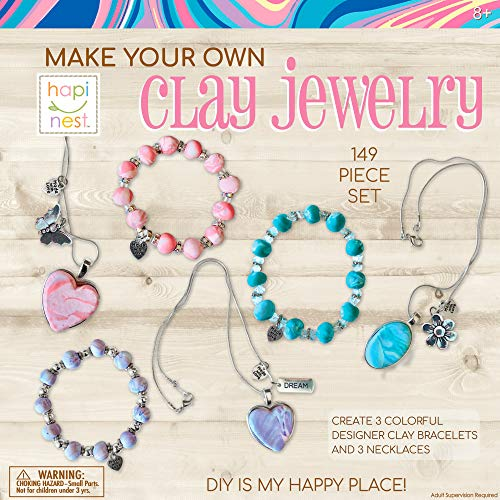Hapinest Make Your Own Clay Jewelry Arts and Crafts Kit for Girls Gifts Ages 8 9 10 11 12 Teen Years Old and Up - 3 Bracelets and 3 Necklaces