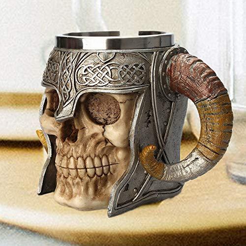 wentao Roestvrij Staal Dubbele Handvat Hoorn Schedel Bier Cup Viking Warrior Schedel Mok Tankard Middeleeuwse Schedel Drinkware Mok voor Koffie/Drank/Sap