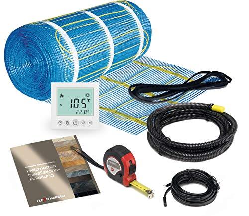 Flexithermo™   Komplett-Set elektrische Fußbodenheizung I Heizleistung: 150 W/m² (4,0m x 0,5m; 2m²) Fußboden-Heizsystem für Fliesenboden I inkl. Digital Thermostat mit Wochenprogramm