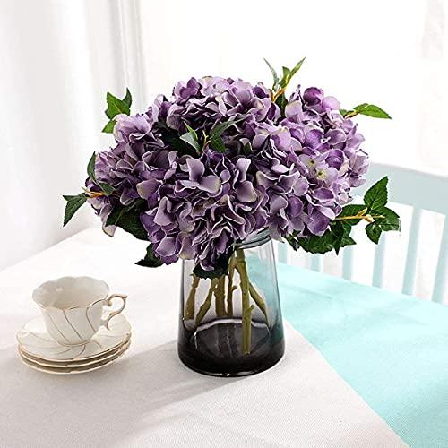 Chiox 3 piezas de hortensias artificiales, hortensias, flores falsas de seda, tronco de flores falsas para boda, hogar, jardín, centro de mesa