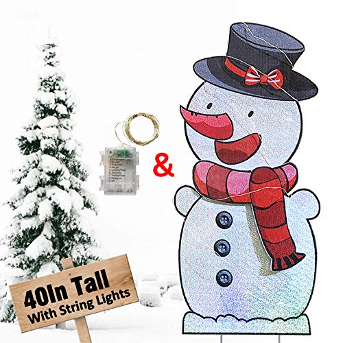HOSKO Snowman Christmas Decorations Outdoor, 40inch Xmas Yard Signs Stakes with String Lights, for Outside Giant Holiday Candyland Themed Party Walkway Pathway Lawn Garden