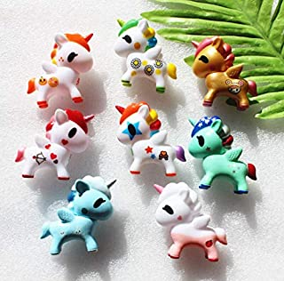 Astra Gourmet 8pcs Unicorn Cupcake Cake Topper Figures, Kids Girl Toy Dolls Birthday Party Baby Shower Cake Decoration Figures