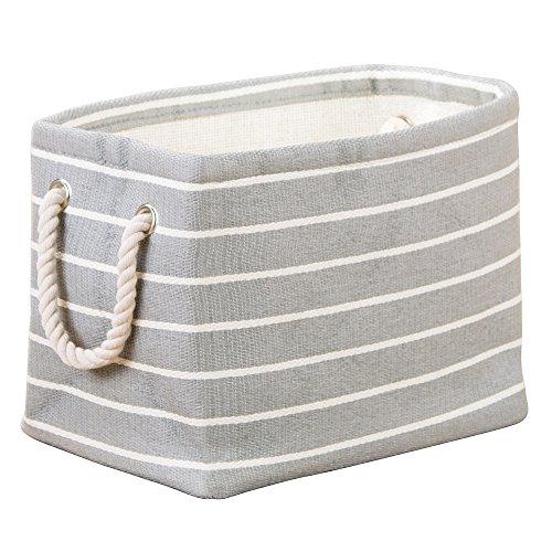 InterDesign Luca - Recipiente de tela, para almacenamiento, con manijas; organiza sábanas, almohadas, ropa, toallas - chico - Gris/crema