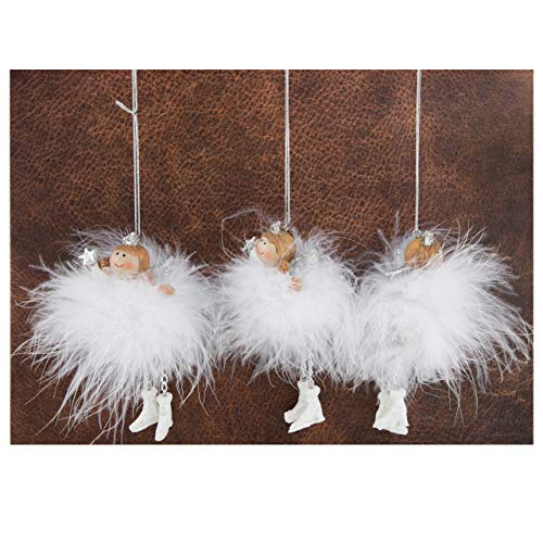 Logbuch-Verlag 3 Engel Prinzessin Schutzengel Anhänger Weihnachtsanhänger Silber rosa mit Schnur zum Aufhängen an den Baum Weihnachten Deko