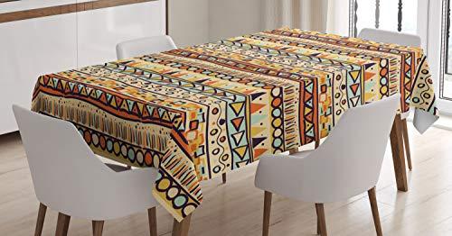 ABAKUHAUS Primitive Tischdecke, Mexikanische ethnische Art, Für den Inn und Outdoor Bereich geeignet Waschbar Druck Klar Kein Verblassen, 140 x 200 cm, Mehrfarbig