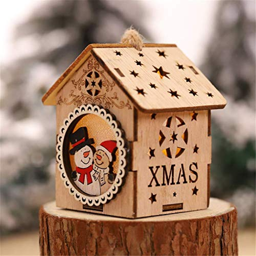 DGHJK Holiday Creative Gift LED Light Wood House Cute Christmas Tree Hanging Ornaments Holiday Decoration