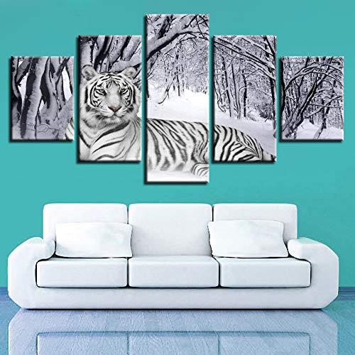 YIWAN Cinco Animales con Corredor Tigre Creativa hogar Pintura Decorativa Pintura 15 20x35cmx2 20x45cmx2 20x55cmx1