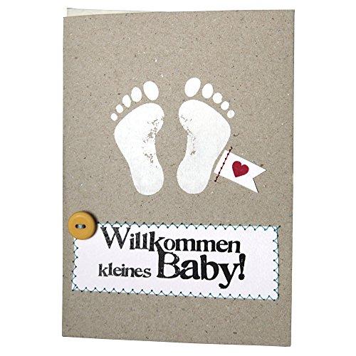 Good old Friends Baby Glückwunsch-Karte Willkommen grau-Weiss 12x17cm Einheitsgröße