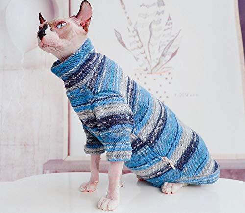 HCYD Blaue Musterkatze kleidet Sphinxkatzenstrickjacke Winter warm, L
