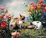 DIY Pintura digital - Dos gatos bebiendo leche Pintar por número Pintura digital con decoración de pincel y pintura, lienzo preimpreso - 40x50 cm (Sin Marco)