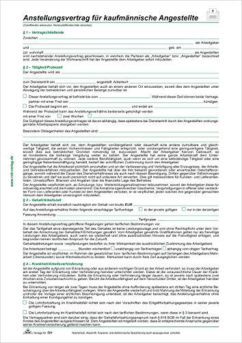 RNK 501/10 - Anstellungsvertrag kaufmännische Angestellte, 2 Seiten, DIN A4, 10 Verträge