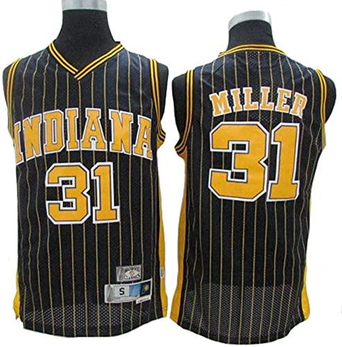 Maglie Jersey da Uomo - NBA Indiana Pacers # 31 Reggie Miller Pallacanestro Maglia da Basket, T-Shirt Senza Maniche Top Outdoor Retro Gym Gym Vest Sport Top, Black, S (165~170 cm)