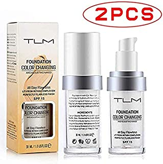 Concealer Cover,TLM Flawless Colour Changing Warm Skin Tone Foundation Makeup Base Nude Face Moisturizing Liquid Cover Concealer for Women Girls SPF15 (2pcs)
