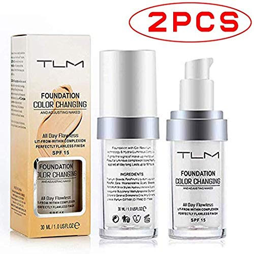 2 Pack TLM Flawless Colour Changing Foundation Makeup, Concealer Cover Cream, Warm Skin Tone Foundation liquid, Base Nude Face Moisturizing Liquid Cover Concealer for Women and Girls