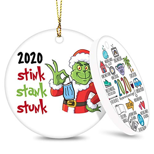 Forbeautiful 2020 Christmas Ornament, Commemorative Ornament, Pandemic Ornament, Quarantine Ornament, Ceramic Round Ornament & Ribbon for Xmas Tree Ornament Hanging Accessories