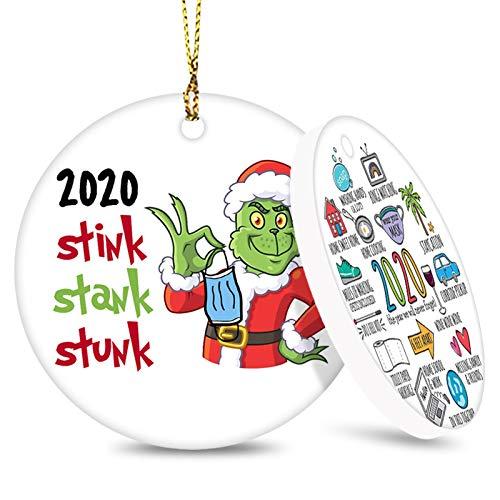 2020 Christmas Ornament, Commemorative Ornament, Pandemic Ornament, Quarantine Ornament, Ceramic Round Ornament & Ribbon for Xmas Tree Ornament Hanging Accessories
