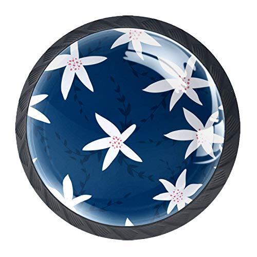 Redondo Negro pomos Azul marino blanco para muebles de habitación infantil, para habitación infantil, armarios, cajones, baúles (4pcs) 35mm