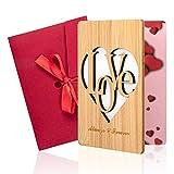 Biglietto di Auguri in Legno, Biglietto Amore in Vero Bambù con Busta le Migliori Carte Regalo per Festa del Pa(A)