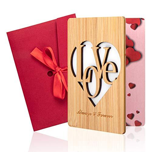 Tarjeta de Felicitación de Madera, Bambú Real Tarjeta de Felicitación con Sobre de Regalo Para el Día Del Madre Padre, Cumpleaños, Bodas, San Valentín y Aniversario