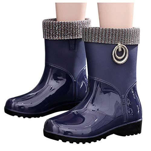 Xinantime Winterregenlaarzen voor dames, antislip, buiten waterschoenen, casual platte warme sneeuwlaarzen, waterdicht, korte laarzen