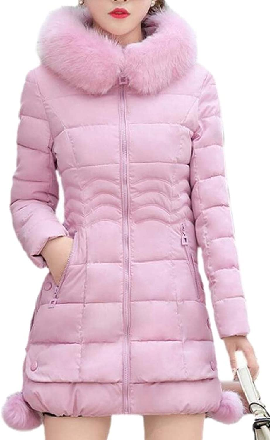 XQS Womens Winter Quilted Faux Fur Hooded Jacket Coat Slim Mid Long Outerwea