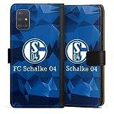 DeinDesign Klapphülle kompatibel mit Samsung Galaxy A51 Handyhülle aus Leder schwarz Flip Hülle FC Schalke 04 Muster Offizielles Lizenzprodukt