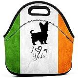 Bolsa de almuerzo con bandera de Irlanda, bolsas de almuerzo gruesas con aislamiento, caja de asas con cierre de cremallera para la oficina de picnic de viajes para niños