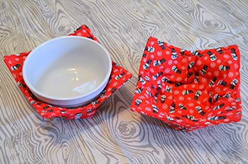 Microwavable Set of Two Red Christmas Snowmen Bowl Cozies
