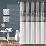 Lush Decor Night Sky Shower Curtain | Sequin Fabric Shimmery Color Block Design for Bathroom, 72' x 72', Grey and White