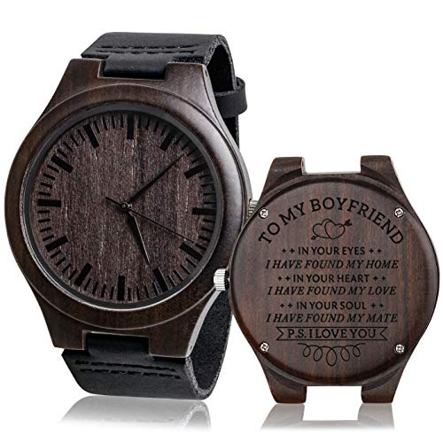 Fodiyaer Custom Engraved Wood Watch Gifts for Boyfriend Men Husband Fiancé Him As Personalized Anniversary Christmas Birthday Father Day Graduation Valentine's Wooden Idea